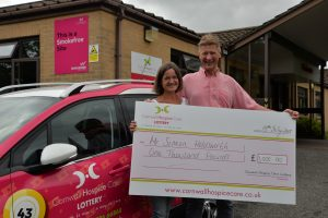 Simon & Rebecca Holdsworth, winners of the Cornwall Hospice Care Weekly Lottery July 2018