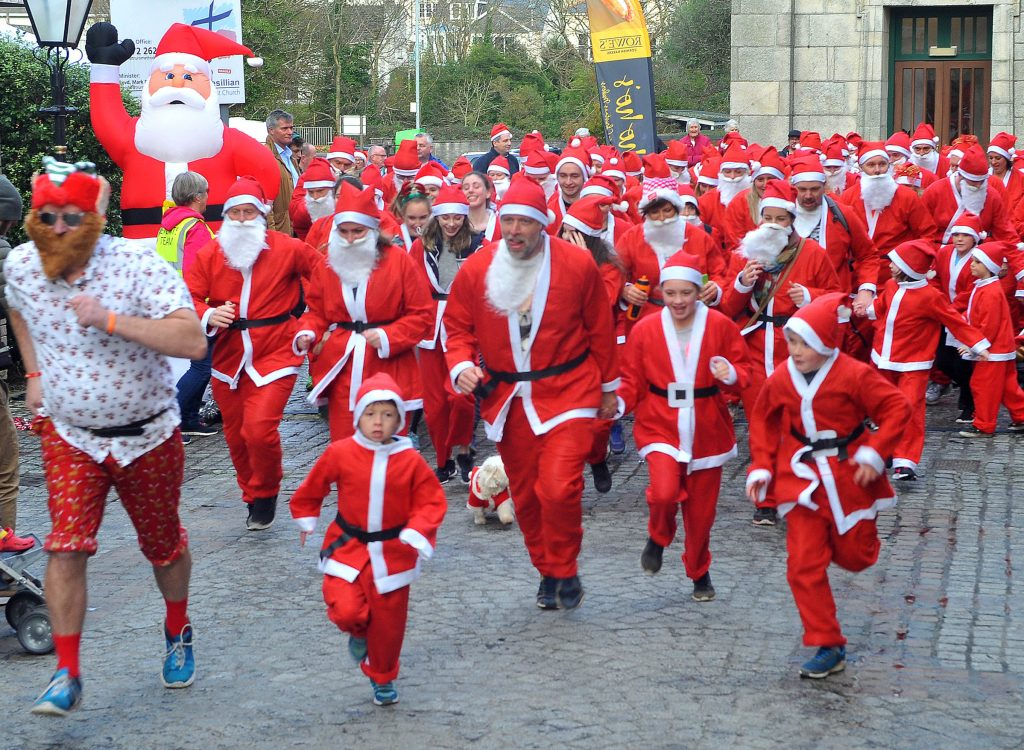 The Cornwall Hospice Care Truro Santa Run on Sunday afternoon: