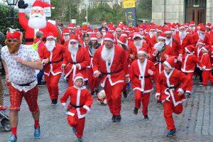 The Cornwall Hospice Care Truro Santa Run on Sunday afternoon: