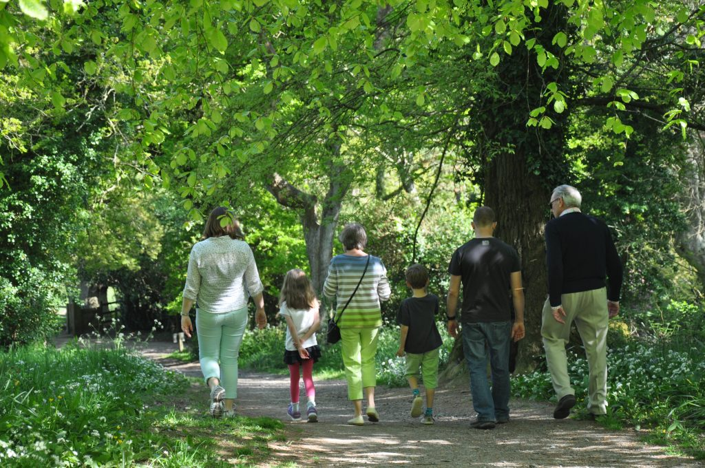 Family walking in Trelissick woods for Cornwall Hospice Care